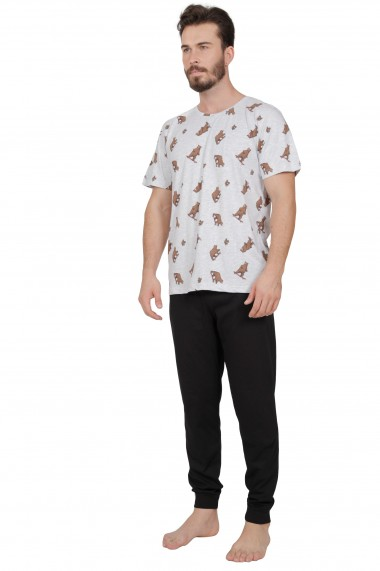 Pijama barbateasca model ursuleti sportivi tricou cu maneca scurta si pantalon lung