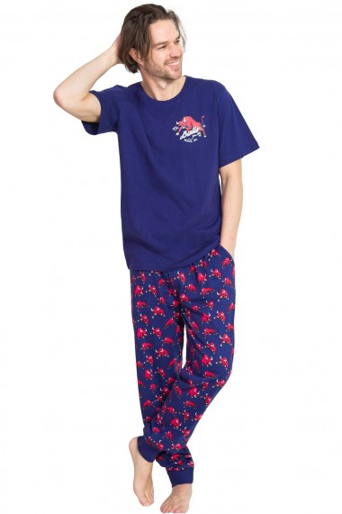 Pijama barbateasca model tauri tricou cu maneca scurta si pantalon lung