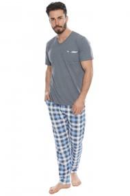 Pijama barbateasca model carouri tricou cu maneca scurta si pantalon lung