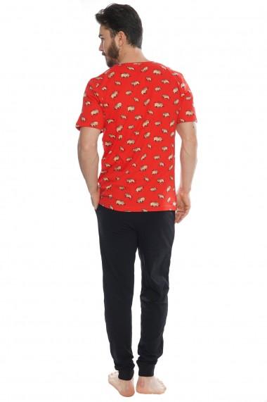Pijama barbateasca model Faster tricou cu maneca scurta si pantalon lung
