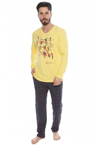 Pijama barbateasca model Twister Galben maneca lunga si pantalon lung