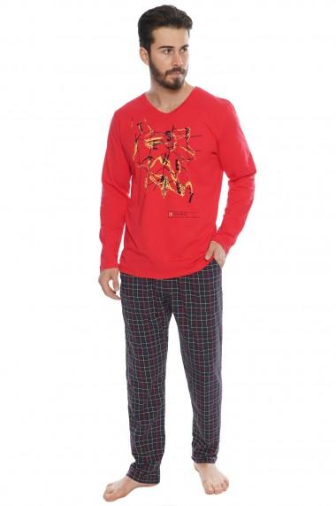Pijama barbateasca model Twister Rosu maneca lunga si pantalon lung