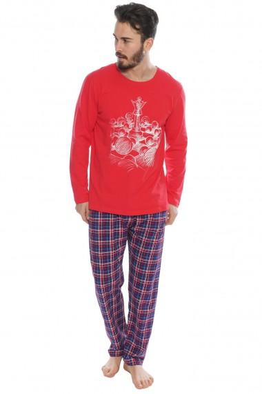 Pijama barbateasca model Sah maneca lunga si pantalon lung