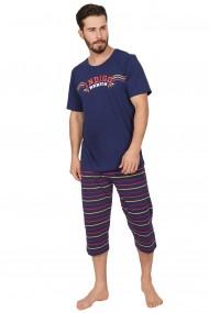 Pijama barbateasca model Blue Rebel tricou cu maneca scurta si pantalon 3/4