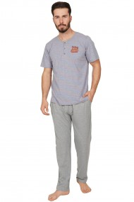Pijama barbateasca model Wave tricou cu maneca scurta si pantalon lung