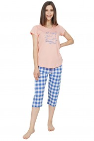 Compleu de dama tricou cu maneca scurta si pantalon 3/4 model Pisica Yoga