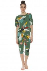 Compleu de dama tricou cu maneca scurta si pantalon 3/4 model Tropical