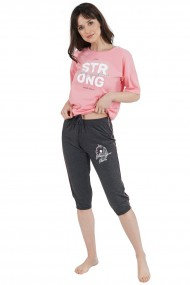Compleu de dama tricou cu maneca scurta si pantalon 3/4 model Peach Strong