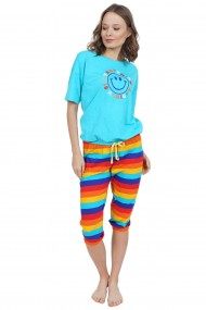 Compleu de dama tricou cu maneca scurta si pantalon 3/4 model Smiley Rainbow