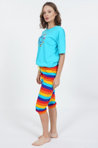 Compleu de dama tricou cu maneca scurta si pantalon 3/4 model Smiley Rainbow