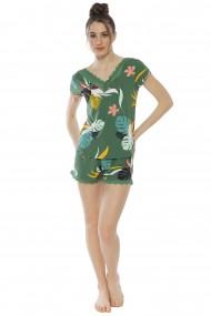 Compleu de dama tricou cu maneca scurta si pantalon scurt model Tropical