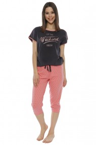 Compleu de dama tricou cu maneca scurta si pantalon 3/4 model Weekend