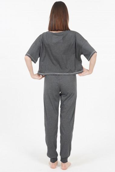 Compleu de dama tricou cu maneca scurta si pantalon lung model Bear Hug