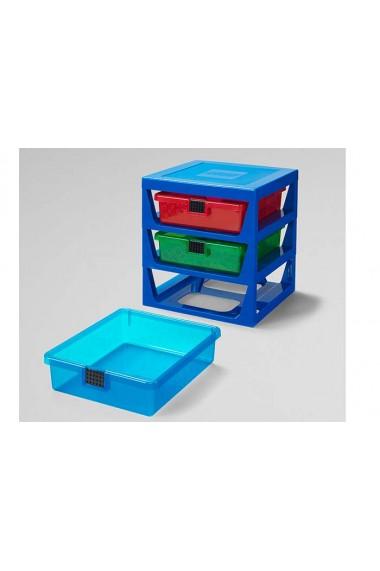 Cutie depozitare LEGO cu trei sertare albastru