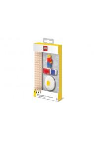 Set LEGO cu o minifigurina 4 creioane 1 topper 1 ascutitoare