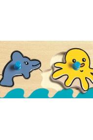Puzzle lemn cu buton Oceanul Djeco