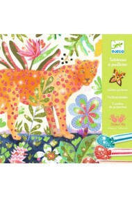 Joc creativ cu sclipici colorat animale tropicale Djeco
