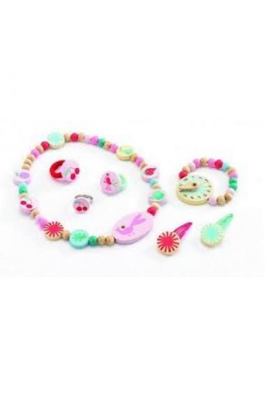 Set bijuterii din lemn roz cu pasari Djeco