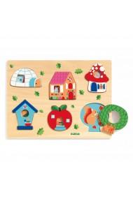 Puzzle lemn Casa cu surprize Djeco