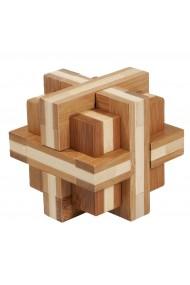 Joc logic IQ din lemn bambus Double cross Fridolin