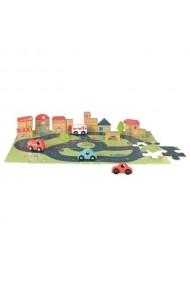 Puzzle oras cu vehicule si cuburi Egmont