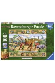 Puzzle Dinozauri cu pui 100 piese Ravensburger
