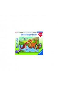 Puzzle dinozauri la rau 2x24 piese Ravensburger