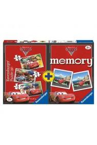Puzzle si Joc memory Disney Cars 3 buc in cutie 15/20/25 piese Ravensburger