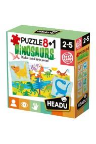 Puzzle cu doua fete dinozauri 8+1 Headu