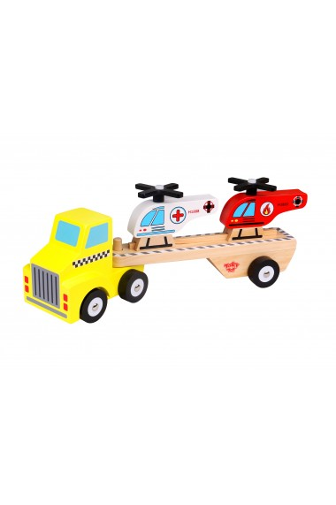 Camion si elicoptere din lemn Tooky Toy