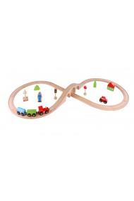 Circuit lemn set tren macazuri Tooky Toy