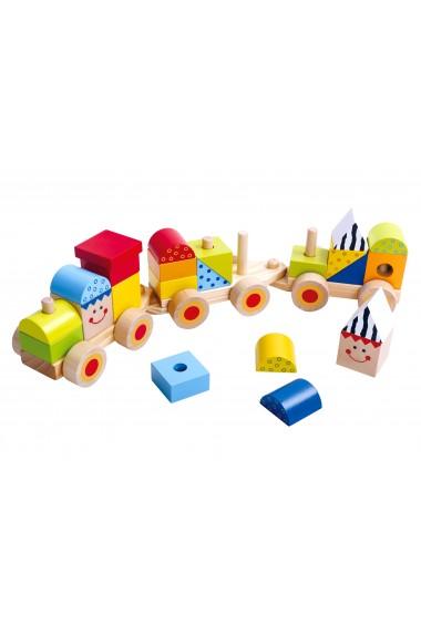 Trenulet cu piese de stivuit din lemn Tooky Toy
