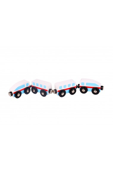 Trenulet lemn alb si albastru cu magnet Tooky Toy
