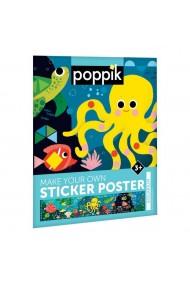 Joc creativ mozaic cu stickere Aquarium Poppik