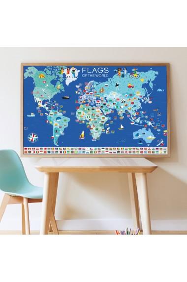 Joc educativ si creativ cu stickere Steagurile Lumii Poppik