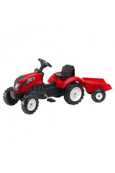Tractor rosu cu remorca Falk