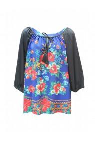 Bluza pentru dama din casmir cu imprimeu floral albastru DAE8080