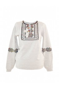 Pulover cu imprimeu traditional pentru dama Crem DAE8104