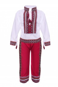 Costum traditional motive traditionale alb/rosu DAE131