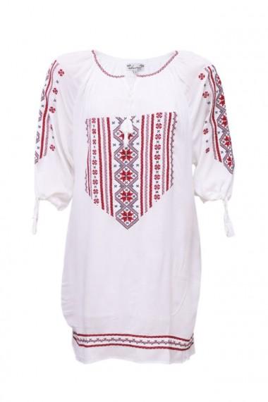 Rochie dama motive traditionale alb dae3545