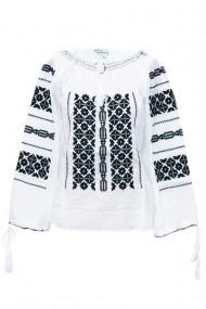 Bluza dama tip ie traditionala alb-negru dae5100