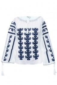 Bluza dama tip ie traditionala Alb-Albastru dae5101