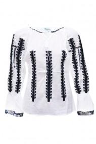 Bluza dama tip ie brodata traditionala Alb-Negru dae5108