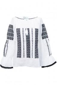 Bluza dama tip ie brodata traditionala Alb-Negru dae5122
