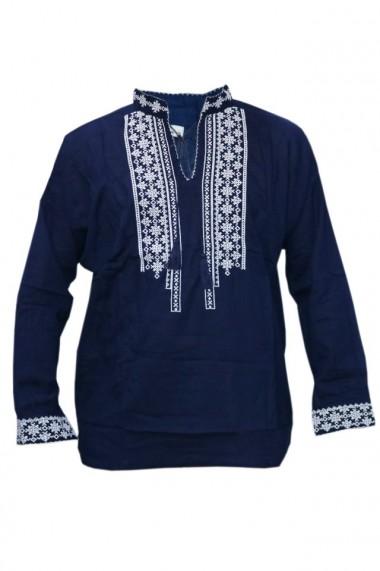 Bluza barbati tip ie brodata traditional bleumarin DAE5123