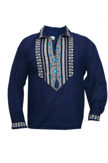 Bluza barbati tip ie brodata traditional bleumarin DAE5125