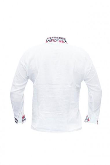 Bluza barbati tip ie brodata traditional Alb/Rosu DAE5797