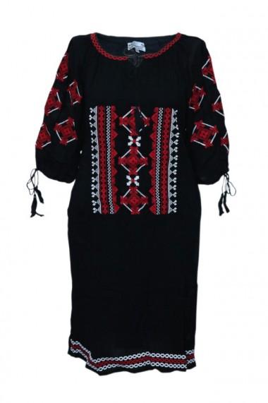 Rochie dama cu motive traditionale Negru DAE6145