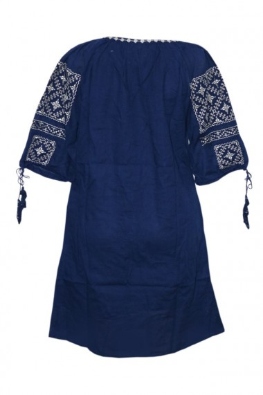 Rochie dama cu motive traditionale Bleumarin DAE6148