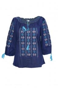 Bluza dama tip ie brodata traditional Bleumarin dae7004